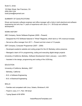Great Instant Resume Template On Resume Ats