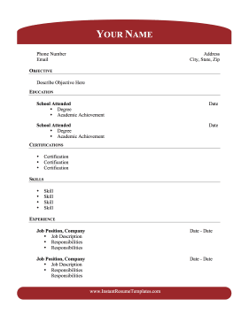 Academic Resume With Header Footer Template