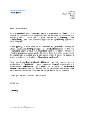 Basic Business Blue Cover Letter