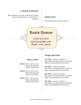 Centered White Space Resume