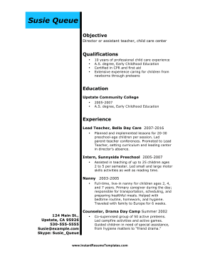 Instant Resume Template  Childcare Resume