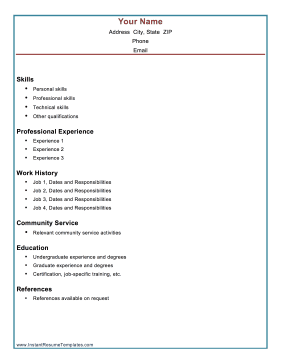 combination resume template - Combination Resume Template
