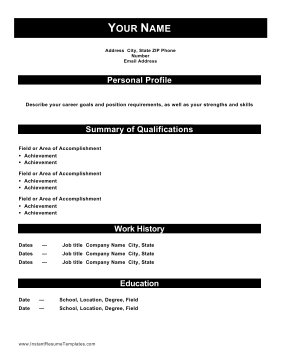 Combination Resume With Headers