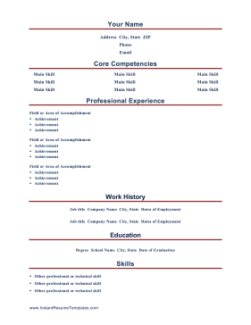 Instant Resume Template Idea Resume Competencies