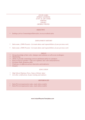 Cosmetology Resume A4 Template
