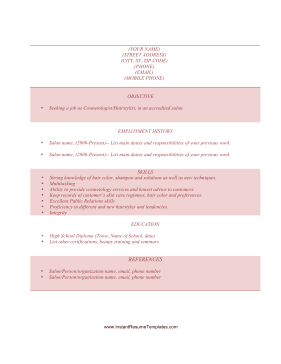 Instant Resume Template  Cosmetologist Resume Sample