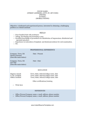 Dental Assistant Resume (A4)