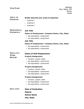 Instant Resume Template  Self Employed Resume Samples