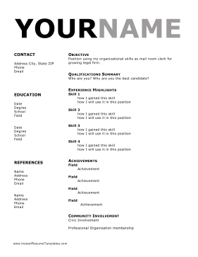 Functional Resume Two Columns