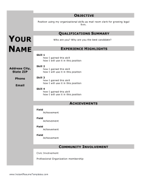 Functional Resume With Headers Template