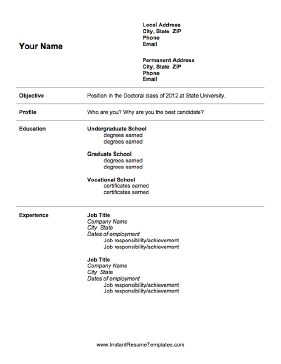 graduate school admissions resume template - Resume Format For Graduate School