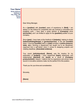 Informal Colorful Cover Letter Template