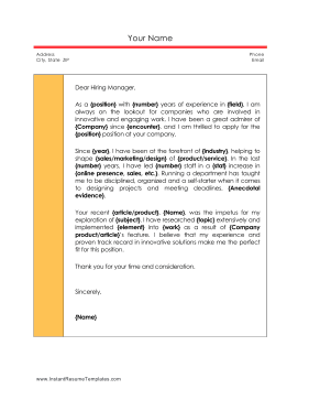 Informal Professional Sidebar Cover Letter Template