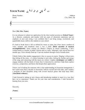 Music Staff Cover Letter