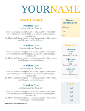 Older Worker Resume No Dates Template