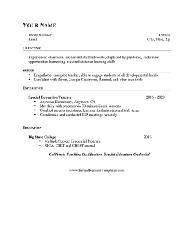 Pandemic Teaching Gap Resume