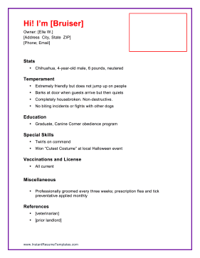 Pet Resume For Renting