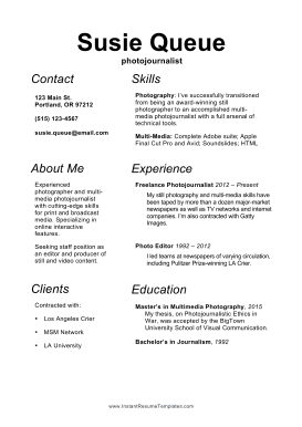 Photojournalist Resume (A4)