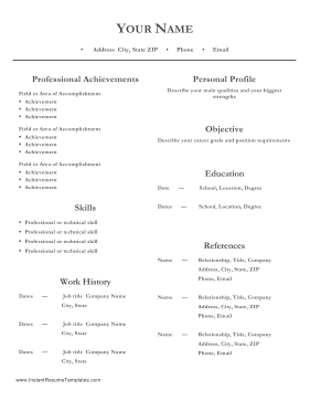 Professional Resume Two Columns