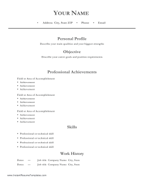 Professional Resume With Personal Profile