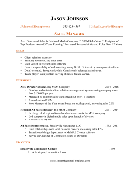 Results Focused Resume