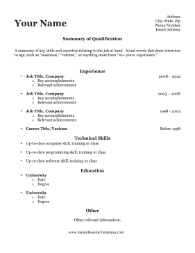 Resume For Older Worker Template