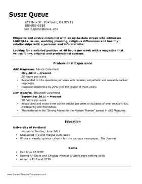 Resume With Hours Worked