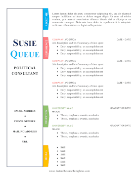 Resume With Tabs Color