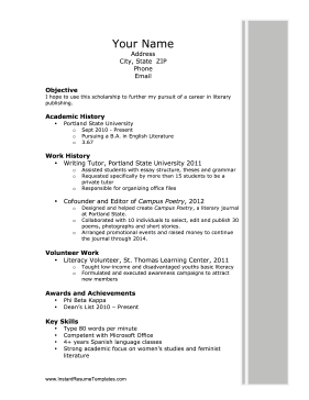 Beautiful Instant Resume Template Inside College Scholarship Resume