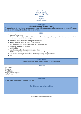security guard resume a4 template