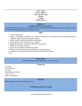 security guard resume template - Security Guard Resume Sample