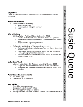 Sidebar Name Resume