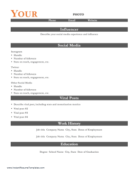 Social Media Influencer Resume