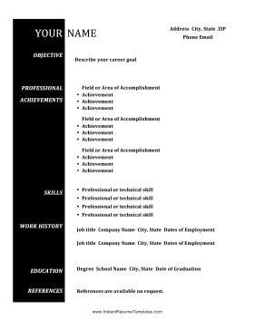 Split Color Bar Resume