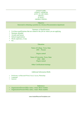 Student Resume (A4)