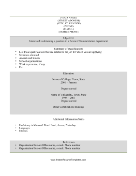 Student Resume (black & white)