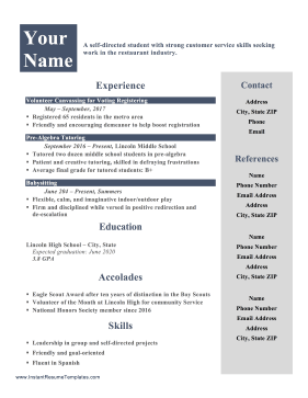 Teenager Resume