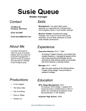 Theater Manager Resume