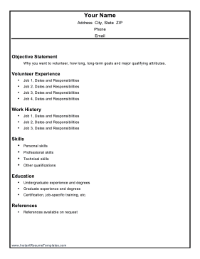 Volunteer Resume Template .