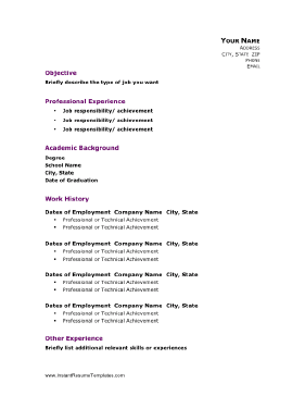 instant resume template professional academic resume