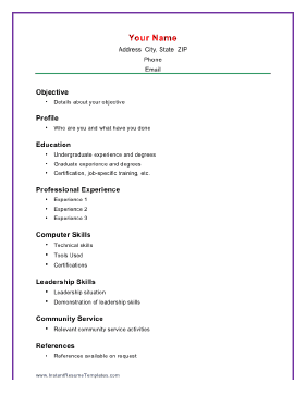 High Quality Basic Academic  Simple Resume Outline