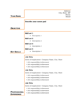 Basic Business Resume - Gold (A4)