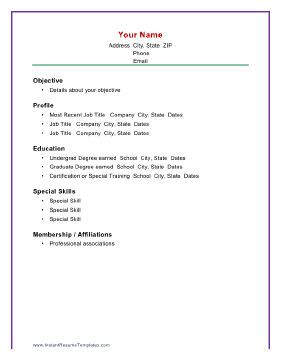 Charmant Instant Resume Template. Basic Chronological Resume