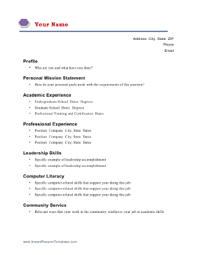 academic - Academic Resume Template