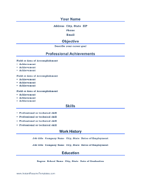 instant resume template professional resume - Achievement Resume Template